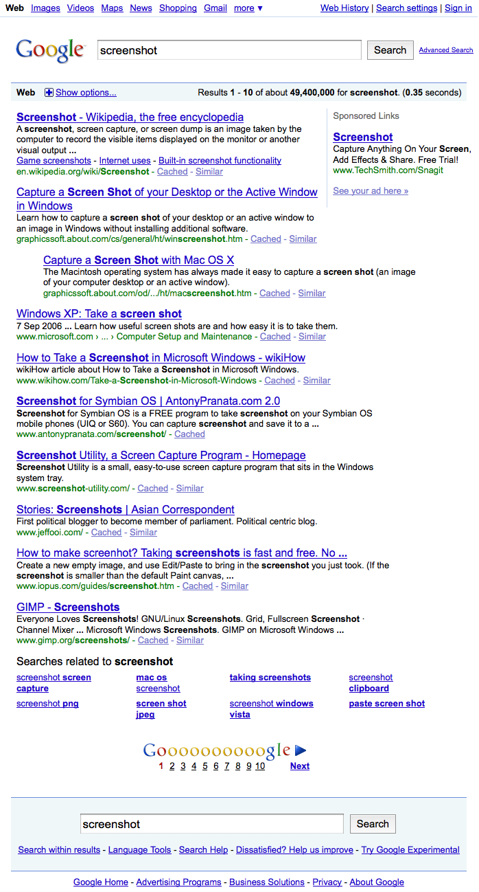 Screenshot Of An Entire Google Search Results Page