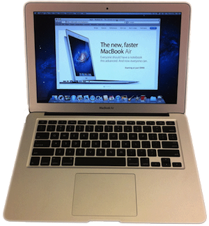 Photo of a MacBook 2011 from above-front.